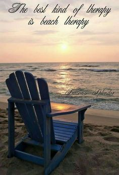 Sandy Beach with Blue Adirondack chair Beach Bum, Ocean Beach, Ocean Sunset, Summer Beach, Parasols, Beach Quotes, Ocean Quotes, I Love The Beach, Beach Scenes