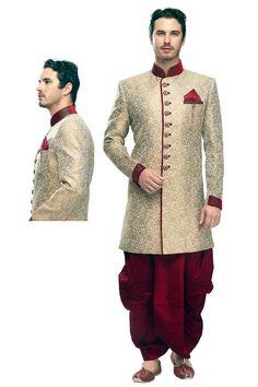 Cream Yellow Benarasi Silk and Jacquard Embroidered Wedding Sherwani