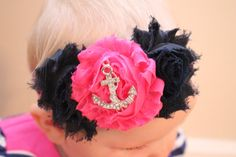 Hey, I found this really awesome Etsy listing at https://www.etsy.com/listing/185423998/hot-pink-and-navy-anchor-shabby-flower