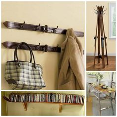 Mindkét kabát a fogasok http://dishfunctionaldesigns.blogspot.se/2012/07/hold-it-right-there-creative-coat-racks.html könyv polc http://www.curbly.com/users/diy-maven/posts/4996-turn-old-skis-into-a-shelf asztal http://www.casasugar.com/Weekend-Decorating-DIY-Projects-13125568?page=0, 0, 0 #photo-13125578