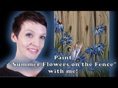 Summer Flowers on the Fence Step by Step Acrylic Painting on Canvas for Beginners - YouTube
