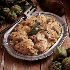 Artichoke Chicken with Shitake Mushrooms | Passover Recipes - Gourmet Kosher Cooking
