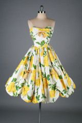 Vintage 1950's Yellow Roses Bubble Hem Cocktail Dress