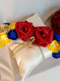 Beauty And The Beast Wedding Ring Pillow Ring Bearer Themed Blue Yellow Gold With Red Roses Wedding Pillows Ring Cushion Pillows Decoration Red Rose Wedding, Gold Wedding, Wedding Rings, Dream Wedding, Beauty And The Beast Wedding Theme, Wedding Beauty, Beauty And The Beast Cupcakes, Beauty And The Beast Wedding Invitations, Ring Pillow Wedding