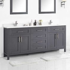 35 Rustic Bathroom Vanity Ideas to Inspire Your Next Renovation - The Trending House Grey Bathrooms, White Bathroom, Small Bathroom, Master Bathrooms, Master Bath Vanity, Wooden Bathroom, Bathroom Plants, Large Bathrooms, Master Bedroom