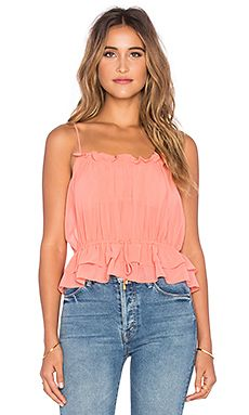 MISA Los Angeles Tayane Ruffle Tank in Rose