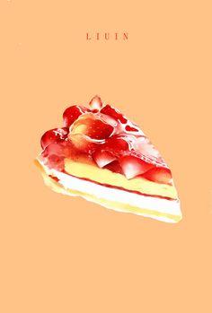 草莓蛋糕-怪咖liuin #甜点# #美...@相思成诗采集到咬一口(1023图)_花瓣插画/漫画