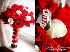 Baseball Roses are an effective way to accent fresh floral arrangements for wedding bouquets or wedding reception centerpieces ... don't forget to accessorize - SportsThemedWeddings.com