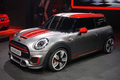 2014 John Cooper Works Mini concept with brushed metal paint finish and red accents
