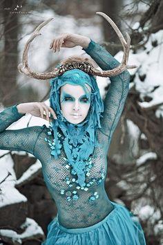 READY MADE deer antler turquoise headdress headpiece tribal natural wig burning man fawn fae. $269.00, via Etsy.