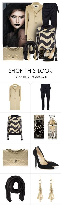 """Black, tan"" by melaniamar ❤ liked on Polyvore featuring Harrods, J.W. Anderson, Raoul, Lipsy, Chanel, Jimmy Choo, Valentino, Aurélie Bidermann, women's clothing and women"