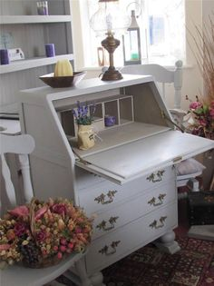 Beautiful French Style Shabby Chic Writing Bureau Annie Sloan Paris Grey