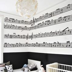 This music note paint would be adorable in a child's room or as an accent wall somewhere in the house. Must find stencils!