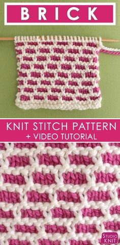 How to Knit the BRICK Stitch with Free Written Pattern and Video Tutorial by Studio Knit. #knitstitchpattern #studioknit #freeknittingpattern via @StudioKnit