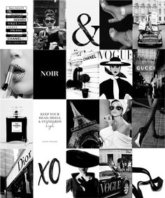 Fashion Black & White - DIY Wall Collage Kit - 100 Pics