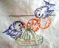 Vintage Hand Embroidery Alice Brooks 7017 Birds in the Kitchen for Tea Towels 1950s