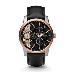 Montre mécanique FOSSIL® Mechanical Twist Leather Watch – Black ME1099 |  #placemtltrust #Fossil