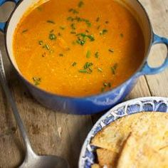 Sweetcorn and sweet potato chowder with crispy tortillas recipe Best Soup Recipes, Chowder Recipes, Veggie Recipes, Cooking Recipes, Uk Recipes, Veggie Food, Vegan Soup, Food Recipes