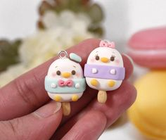 Donald has his companion now ☺ polymerclay polymerclaycharm claycreations c Fimo Kawaii, Polymer Clay Kawaii, Fimo Clay, Polymer Clay Charms, Polymer Clay Creations, Polymer Clay Art, Polymer Clay Earrings, Clay Projects, Clay Crafts