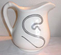 "Large Laura Zindel Art Pottery Ceramic Pitcher Jug, Snake Viper, 8.5"" max H, 9""W"