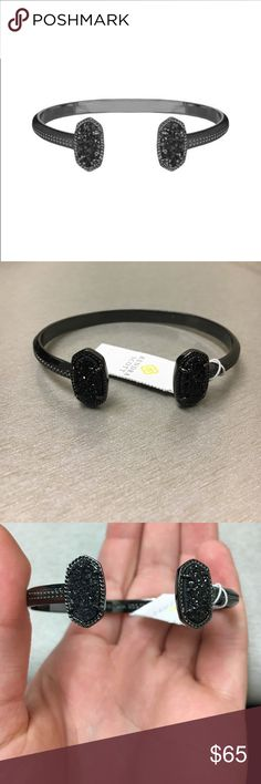 """Kendra Scott Elton Bracelet Get classically refreshing style in a pinch with the Elton Bracelet. A dainty pinch cuff bookended with our signature oval stones, this accessory will be your new summer staple.  MATERIALS  • Gunmetal Plated Over Brass • Size: 0.63""""L x 0.38""""W • Open, adjustable • Material: black drusy*   NWT. Price firm. Kendra Scott Jewelry Bracelets"""