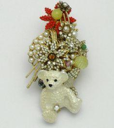 "ON SALE -STANLEY HAGLER  Figuiral Brooch Pin Panda Bear Glass Pearl Crystal Gilt 4"" #StanleyHagler"