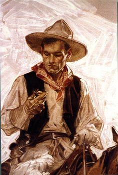 J.C. Leyendecker, original oil painting, illustration art for Howard Watch ad (detail).