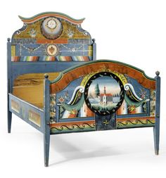 PAINTED BED  Appenzell, beginning of 19th century. Flaunt Fabulous!!  www.schoolofflaunt.com