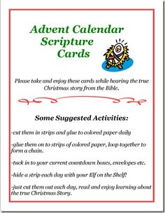 Advent Scripture Cards = LOVE putting one scripture a day with the Elf