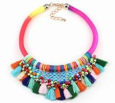 fashion 2016 new arrival brand neon colorful rope chain handmade tassel chunky bead chain statement necklace for women jewelry Bohemian Necklace, Tassel Necklace, Necklace Chain, Statement Necklaces, Chunky Beads, Rope Chain, Chain Pendants, Jewelry Stores, Women Jewelry