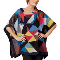 Sonia Delaunay Colored Rhythm Sheer Poncho - Tops - Apparel - The Met Store