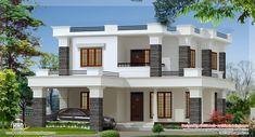4 Bedroom flat roof style villa design in 2000 square feet by Green Arch, Kozhikode, Kerala. Free House Design, Modern Small House Design, Free House Plans, Two Story House Plans, Flat Roof House, Facade House, Residential Building Design, Indian House Plans, Modern House Facades