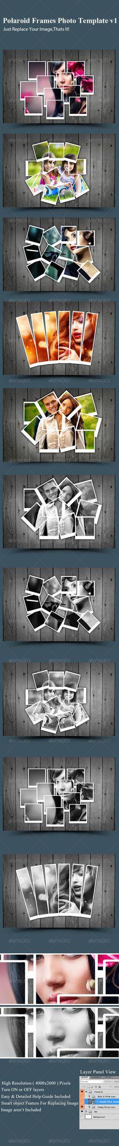 PSD - Polaroid Collage Photo Template lost photos Pinterest - polaroid template