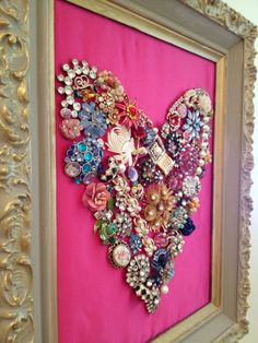 tutorial: jeweled heart: I really like this idea for a grandmothers/mothers old jewelry that is passed down after they are done with it or have passed away...great way to put it to good use and remember the person they all belonged too!!!