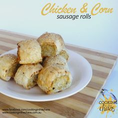 Chicken & Corn Sausage Rolls - Thermomix Recipe - Cooking in the Chaos