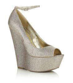 Harrod's peep toe sparkle wedge