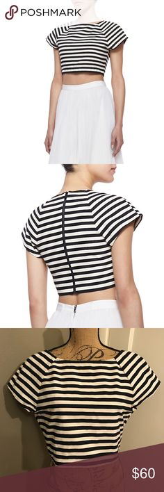 Alice + Olivia Connelly Striped Crop Top Striped crop top with a relaxed fit and short sleeves.  This top has a full zip in the back.  92% Cotton 8% Nylon. Alice + Olivia Tops Crop Tops