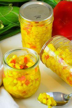 Homemade Sweet Corn Relish - The Vintage Housewife Corn Relish Recipes, Corn Recipes, Side Dish Recipes, Canning Corn, Canning Recipes, How To Make Corn, How To Make Relish, Pepper Relish, Kitchens
