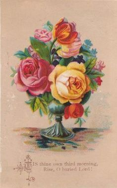 Antique Victorian Picture Card Easter Card Religious Bouquet of Flowers | eBay