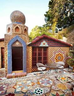 small mosaic tile house