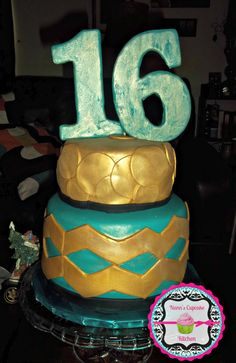 A utterly delicious Sweet 16 Chevron Cake #sweet16 #sweetsixteen #girlbirthday