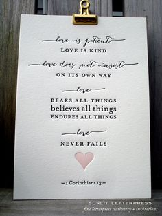 "Beautiful ""Love Is"" letterpress art print – a perfect gift for weddings, wedding vendor client gifts, or an addition to your gallery wall. Delicate calligraphy for this popular Bible verse / Bible quote is letterpress printed with a deep impression on thick luxurious 100 lb. 100% cotton Crane Lettra paper. Buy for yourself or as a gift set for someone special. Makes a great high-end, handcrafted, multipurpose gift!"