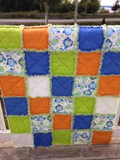 Baby Rag Quilt, Baby Quilt, Crib Quilt, Toddler Blanket, Nursery Bedding, Owl Quilt, Lime Green, Orange, Blue, Handmade, Ready to Ship by SewSnugglyDesigns on Etsy