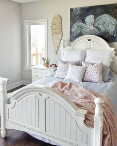 Blush and blue farmhouse master bedroom Farmhouse Master Bedroom, House On The Rock, Luxury Estate, Beautiful Bedrooms, Home Renovation, Sweet Home, Nice, Blush, Inspiration