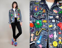 Rare 80's Patched 3D pins Acid Wash JEAN JACKET by NOIROHIOVINTAGE
