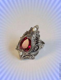 """Купить Кольцо  """"Пурпурная легенда"""" - фуксия, брусничный топаз, огранка, топаз огранка, красный топаз"""