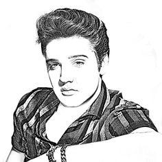 Elvis Drawing - Elvis Presley In Pen And Ink by Doc Braham Edgar Degas, Drake, Elvis Tattoo, Disney Princess Silhouette, Elvis Presley Pictures, Chicano Art, Vintage Music, Fitness Motivation, White Art