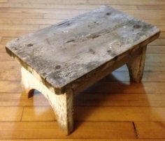 Rustic & Primitive Small Old Vintage Wood Wooden Milking Stool Step Foot Bench