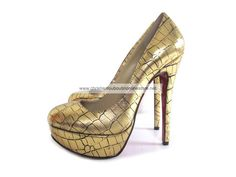 Christian Louboutin Bianca 140mm Leather Platform Pumps Gold