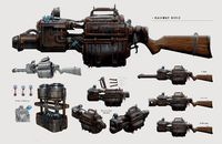 Railway Rifle (Fallout) Fallout 4 Weapons, Railway Gun, Bioshock, Post Apocalyptic, Skyrim, Concept Cars, Dungeons And Dragons, Video Games, Guns